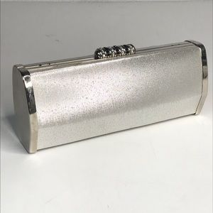 Silver Evening Clutch Purse Bag Strap
